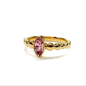 Skagen Gold Tone Marquis Cut Purple Stone Ring 7.5
